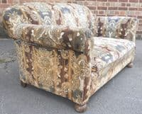 1930's Upholstered Two Seater Settee Couch Sofa